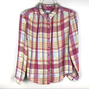 Anthropologie Holding Horses Plaid Button Down Top